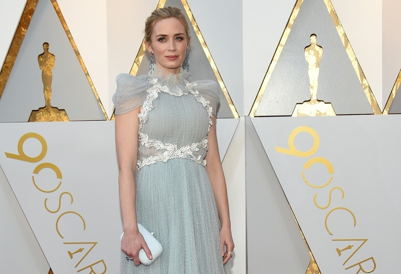 British-US actress Emily Blunt arrives for the 90th Annual Academy Awards on March 4, 2018, in Hollywood, California. / AFP PHOTO / VALERIE MACON