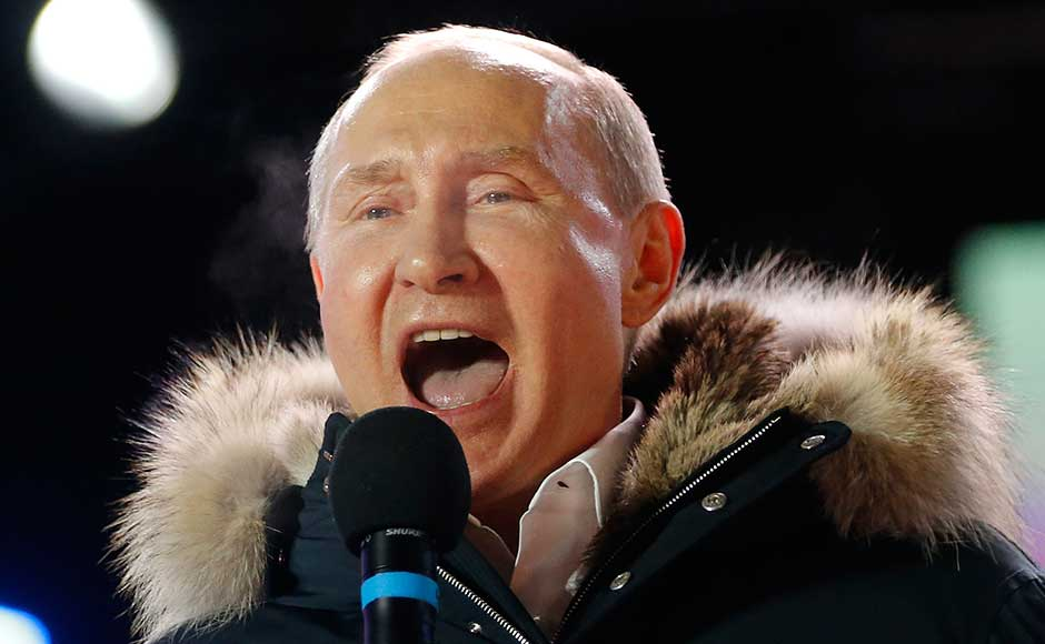 Vladimir Putin wins fourth presidential term gains massive mandate by clinching 77% of votes