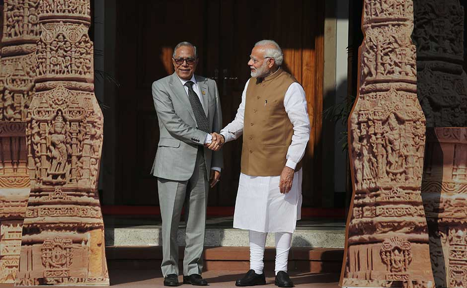 The ISA was conceived as a coalition of solar resource-rich countries to address their special energy needs. It is open to all 121 prospective member countries falling between the Tropics of Cancer and Capricorn. Of these, 61 have signed the framework agreement. Modi welcomes Bangladesh President Abdul Hamid at ISA. AP