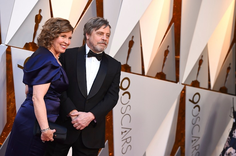 Marilou York, left, and Mark Hamill arrive at the Oscars on Sunday, March 4, 2018, at the Dolby Theatre in Los Angeles. (Photo by Jordan Strauss/Invision/AP)