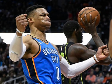 NBA: Russell Westbrook nets 100th career triple-double as Thunder close in on playoff berth; Spurs beat Magic