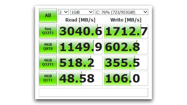 The read speeds are excellent, but not best in class.