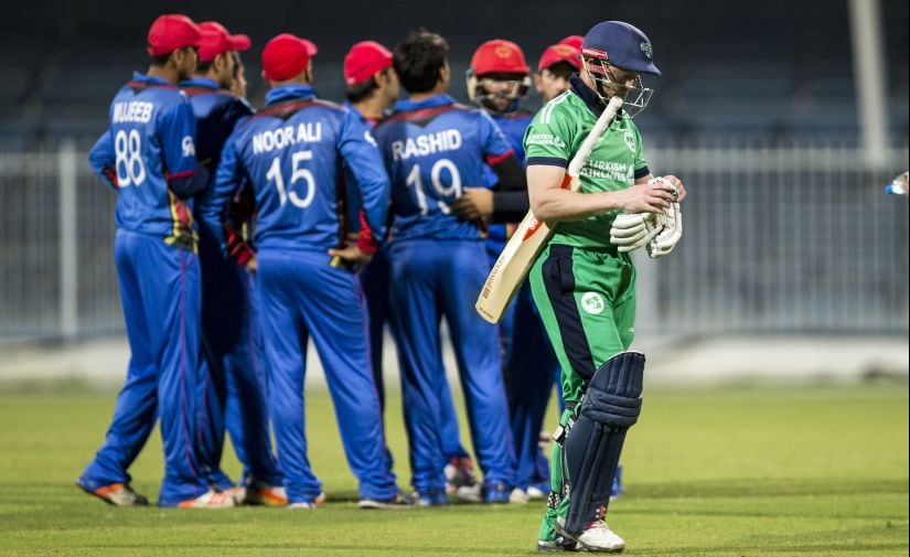 File photo of Afghanistan players celebrating after dismissing Ireland's Niall O'Brien during an ODI between the two sides. AFP
