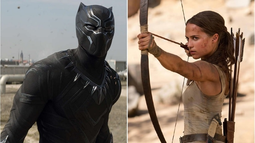 T'Challa in Black Panther and Lara Croft in Tomb Raider