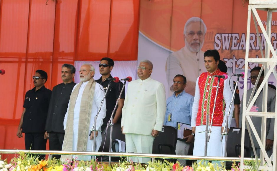 The ceremony, held at the Assam Rifles ground, was attended by Prime Minister Narendra Modi, BJP chief Amit Shah, Union home minister Rajnath Singh, senior BJP leaders Lal Krishna Advani and Murli Manohar Joshi. Twitter @narendramodi