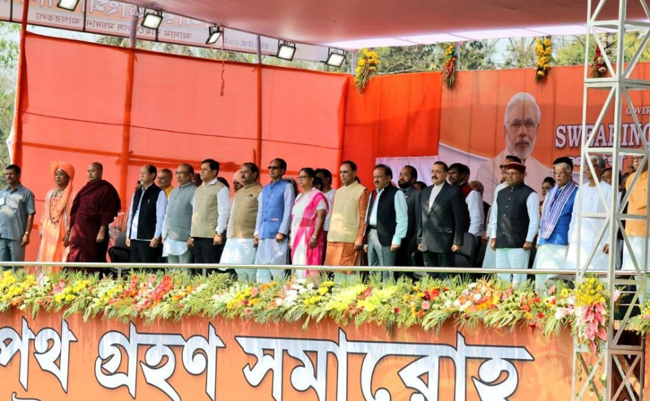 Chief ministers of BJP-ruled states - Vijay Rupani (Gujarat), Shivraj Singh Chouhan (Madhya Pradesh), Sarbananda Sonowal (Assam), Raghubar Das (Jharkhand) besides others also attended the function. Twitter @BJP4India