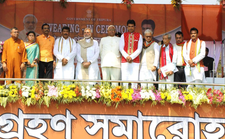 Tripura BJP chief Biplab Kumar Deb was sworn-in as the tenth Chief Minister of Tripura on Friday, thereby assuming the charge of the first BJP government in the state after trouncing the 25-year rule of the Left government in state. Twitter @AmitShah