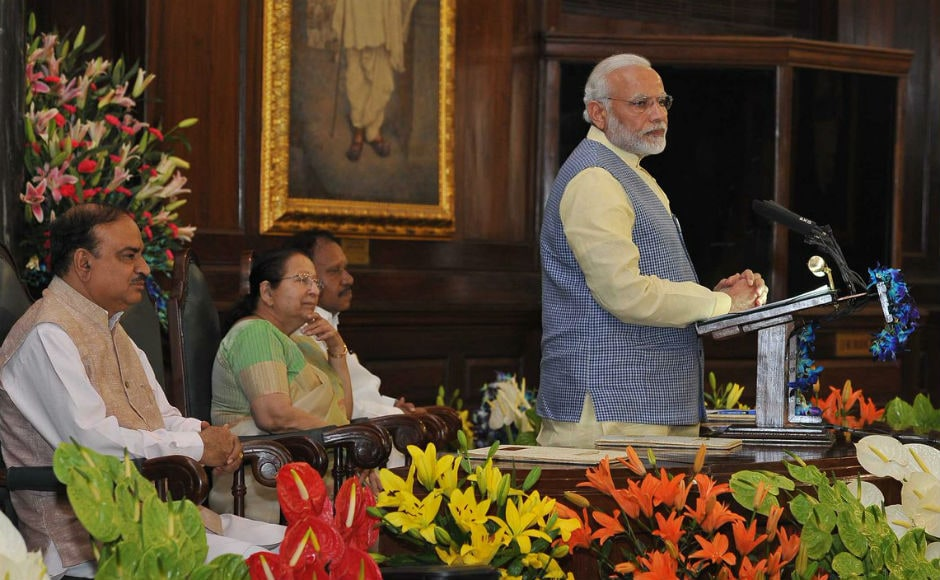 Prime Minister Narendra Modi on Saturday inaugurated National Legislators Conference in the Central Hall of the Parliament in Delhi where he spoke about social justice in the context of all-round development. Twitter @narendramodi