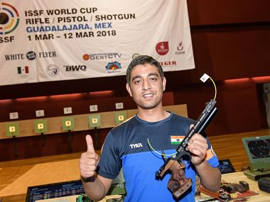 Shahzar Rizvi celebrates after winning gold with a world record score in the men's 10m air pistol event. Image courtesy: Twitter @ISSF_Shooting