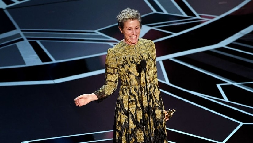 Frances McDormand during her acceptance speech for Best Actress. Image from Twitter/@THR