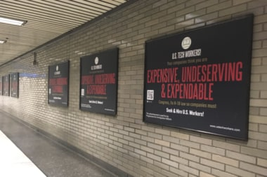 Anti-H1B posters plastered in the heart of Silicon Valley's train network right before visa-filing season starts in US