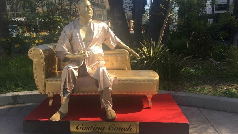 The Harvey Weinstein 'Casting Couch' statue. Image from Twitter/@THR