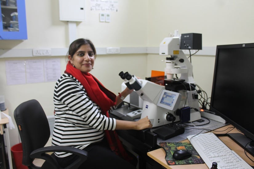 Mahak Sharma at her lab in ISSER Mohali. All photos courtesy Cyrus Khan/The Life of Science