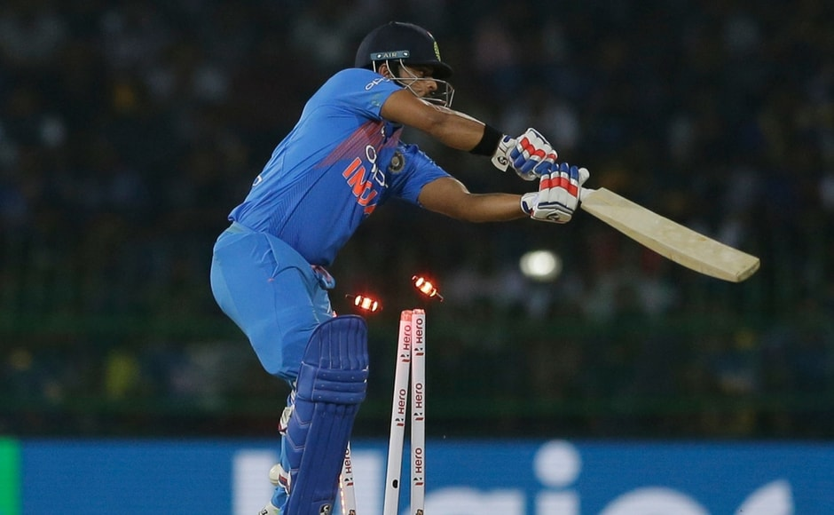 India, batting first, lost two quick wickets. Stand-in skipper Rohit Sharma and comeback player Suresh Raina failed to make any impact. AP