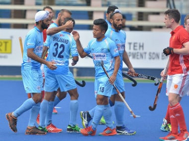 India celebrate in their clash against England. Image credit: Twitter/@TheHockeyIndia