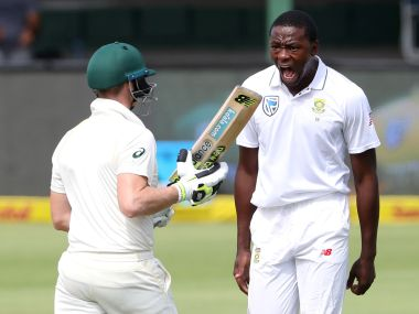 Kagiso Rabada celebrates the dismissal of Steve Smith. Reuters