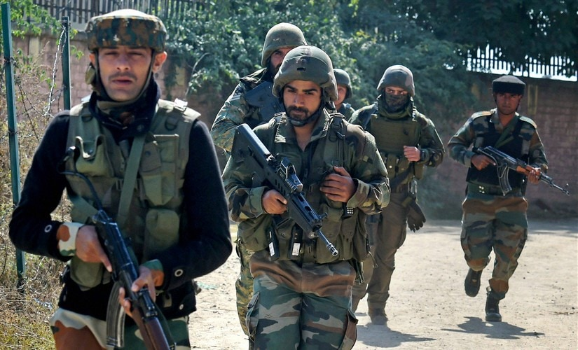 File image of security personnel in Jammu and Kashmir. PTI