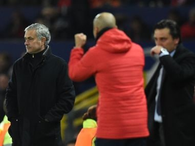 Manchester United's manager Jose Mourinho reacts after Sevilla scored their second goal. AFP