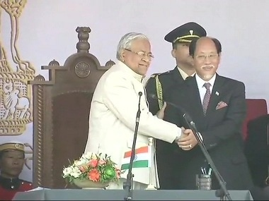 Niuphiu Rio being sworn-in as chief minister. Image courtesy: Twitter/@ANI