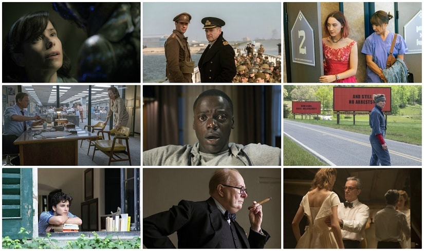 The nominees: Call Me by Your Name, Darkest Hour, Dunkirk, Get Out, Lady Bird, Phantom Thread, The Post, The Shape of Water, Three Billboards Outside Ebbing, Missouri