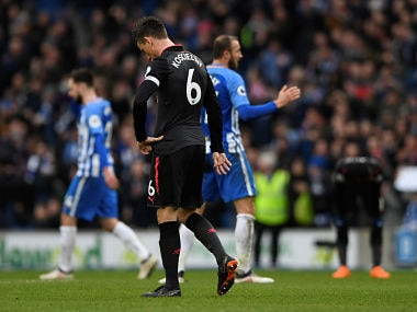 """Soccer Football - Premier League - Brighton & Hove Albion vs Arsenal - The American Express Community Stadium, Brighton, Britain - March 4, 2018 Arsenal's Laurent Koscielny looks dejected Action Images via Reuters/Tony O'Brien EDITORIAL USE ONLY. No use with unauthorized audio, video, data, fixture lists, club/league logos or """"live"""" services. Online in-match use limited to 75 images, no video emulation. No use in betting, games or single club/league/player publications. Please contact your account representative for further details. - RC1C60EA62F0"""
