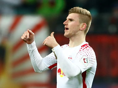 Soccer Football - Bundesliga - RB Leipzig vs Schalke 04 - Red Bull Arena, Leipzig, Germany - January 13, 2018 RB Leipzig's Timo Werner celebrates scoring their second goal REUTERS/Hannibal Hanschke DFL RULES TO LIMIT THE ONLINE USAGE DURING MATCH TIME TO 15 PICTURES PER GAME. IMAGE SEQUENCES TO SIMULATE VIDEO IS NOT ALLOWED AT ANY TIME. FOR FURTHER QUERIES PLEASE CONTACT DFL DIRECTLY AT + 49 69 650050 - RC11B85B1760