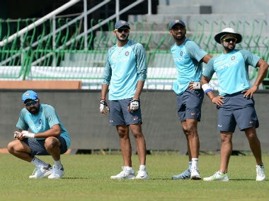 The Indian team during a practice session in Colombo. AFP