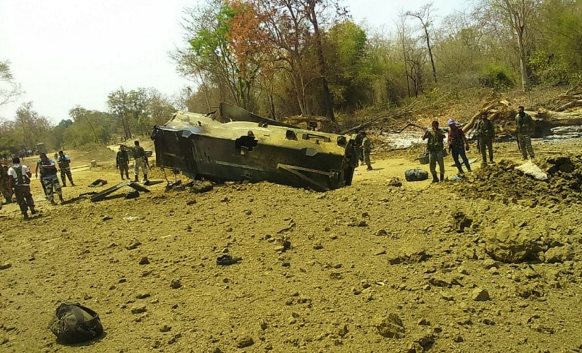 A high-intensity IED blew off a CRPF MPV and turned the entire area into a ruin. Image procured by Debobrat Ghose/Firstpost
