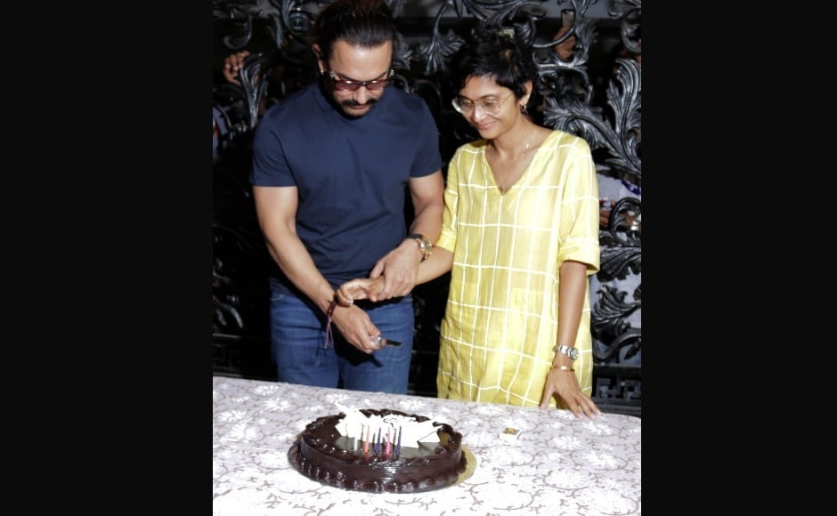 Aamir Khan celebrates 53rd birthday; cuts cake with Kiran Rao, members of press