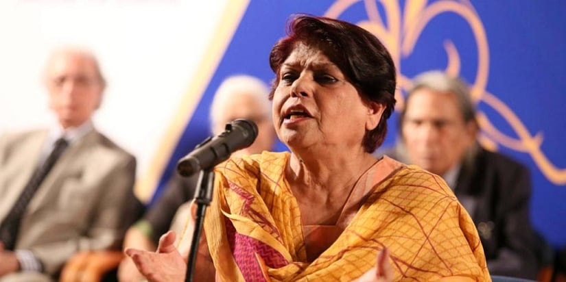 Kishwar Naheed in performance. Image from Facebook/@akuglobal