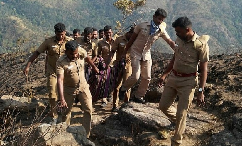 Rescue operations were carried out by the Indian Air Force and local authorities after the Theni fire. Firstpost/Naveen Nair