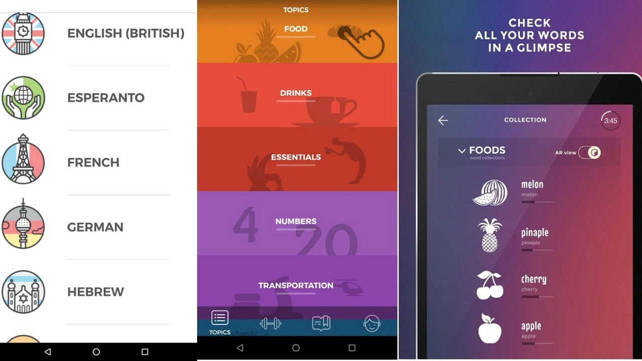 Drops is a language learning app which can help you learn basic words in a foreign language. Google Play Store.