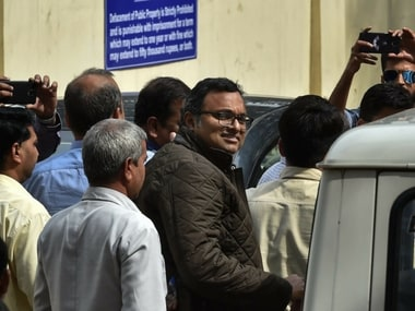 Karti Chidambaram, son of former union minister P Chidambaram being produced at Patiala House Courts in New Delhi on Thursday. PTI