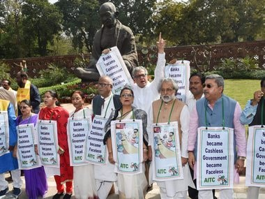 TMC MPs holding protests over the Nirav Modi scam outside Parliament. PTI