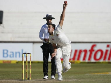 Australia's Mitchell Starc in action during the first Test against South Africa in Durban. AFP