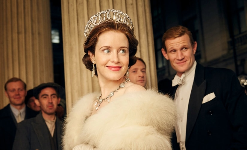 A still from The Crown/Image from Twitter.