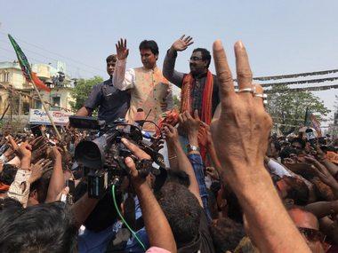 BJP leaders celebrating after election results in Tripura. Twitter/@RajatSethi86