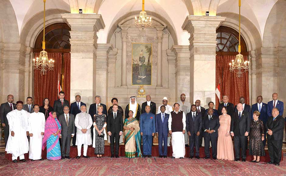 Macron lauded India's solar commitments that has 20 GW installed solar capacity — one of the fastest growing in the world. The country has increased its solar power capacity by about eight times over the past four years. President of India, Ram Nath Kovind, pose with Heads of State participating in the Founding Conference of International Solar Alliance at Rashtrapati Bhavan. PTI