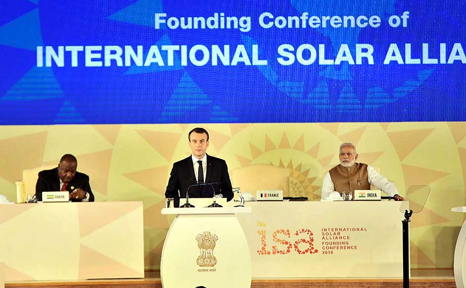 French President Emmanuel Macron, who co-chaired the conference with Modi, announced an additional investment of 700 million euros for global solar energy generation by 2022 to reduce the use of fossil fuel and help combat climate change. PTI
