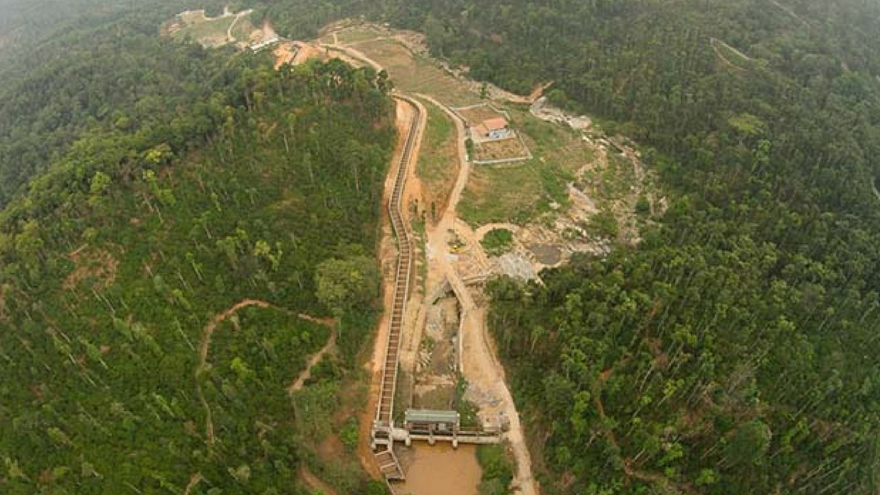 An aerial view of a small hydropower project (SHPs) in the Western Ghats, Karnataka. Indiaspend