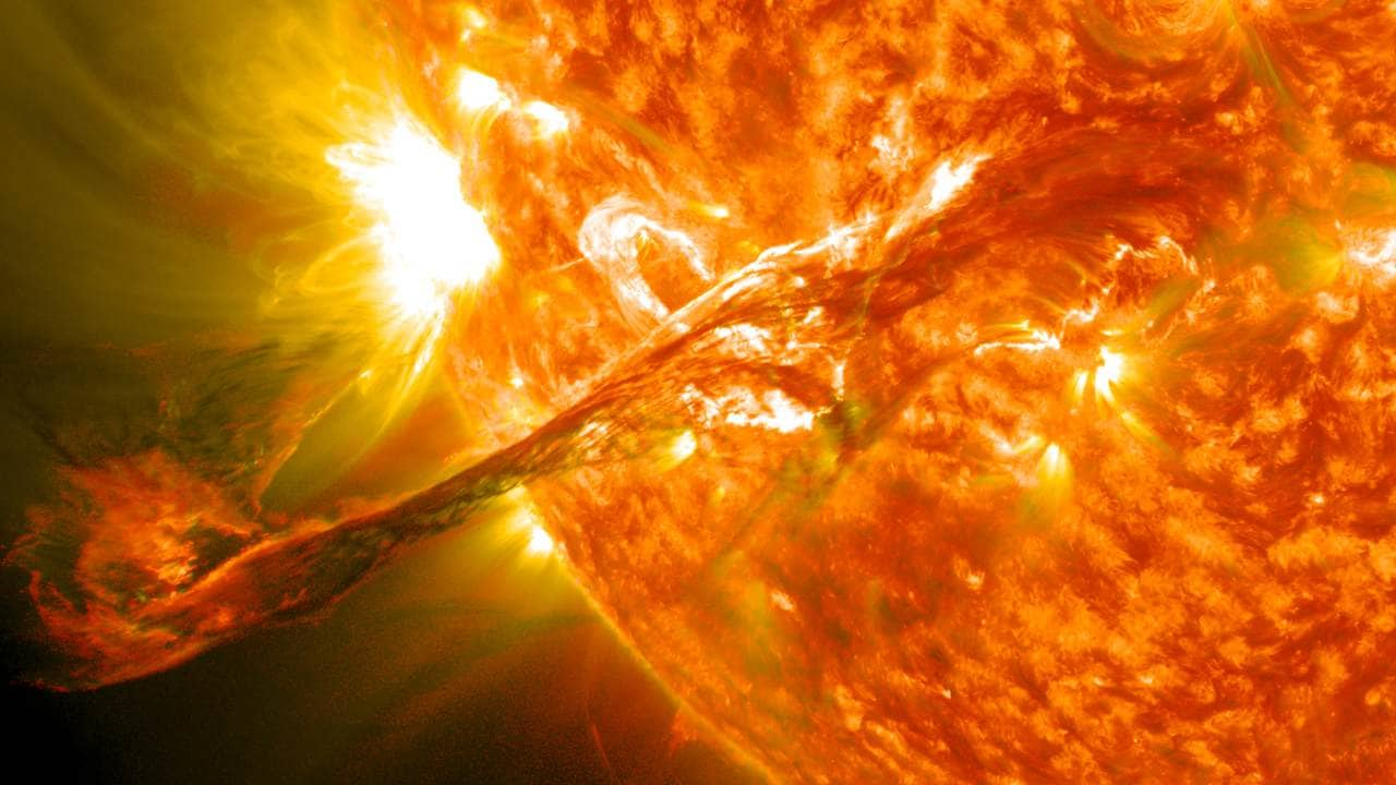 On August 31, 2012 a long prominence/filament of solar material that had been hovering in the Sun's atmosphere, the corona, erupted out into space at 4:36 p.m. EDT. Seen here from the Solar Dynamics Observatory, the flare caused an aurora on Earth on September 3. Image: Wikimedia Commons