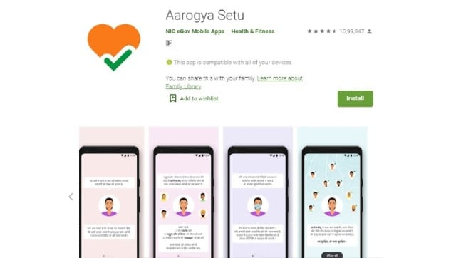 A screenshot of the Aarogya Setu app listed on the Google Play Store. As per the service, the app has been downloaded more than 10 crore times. Image Courtesy: Google Play Store