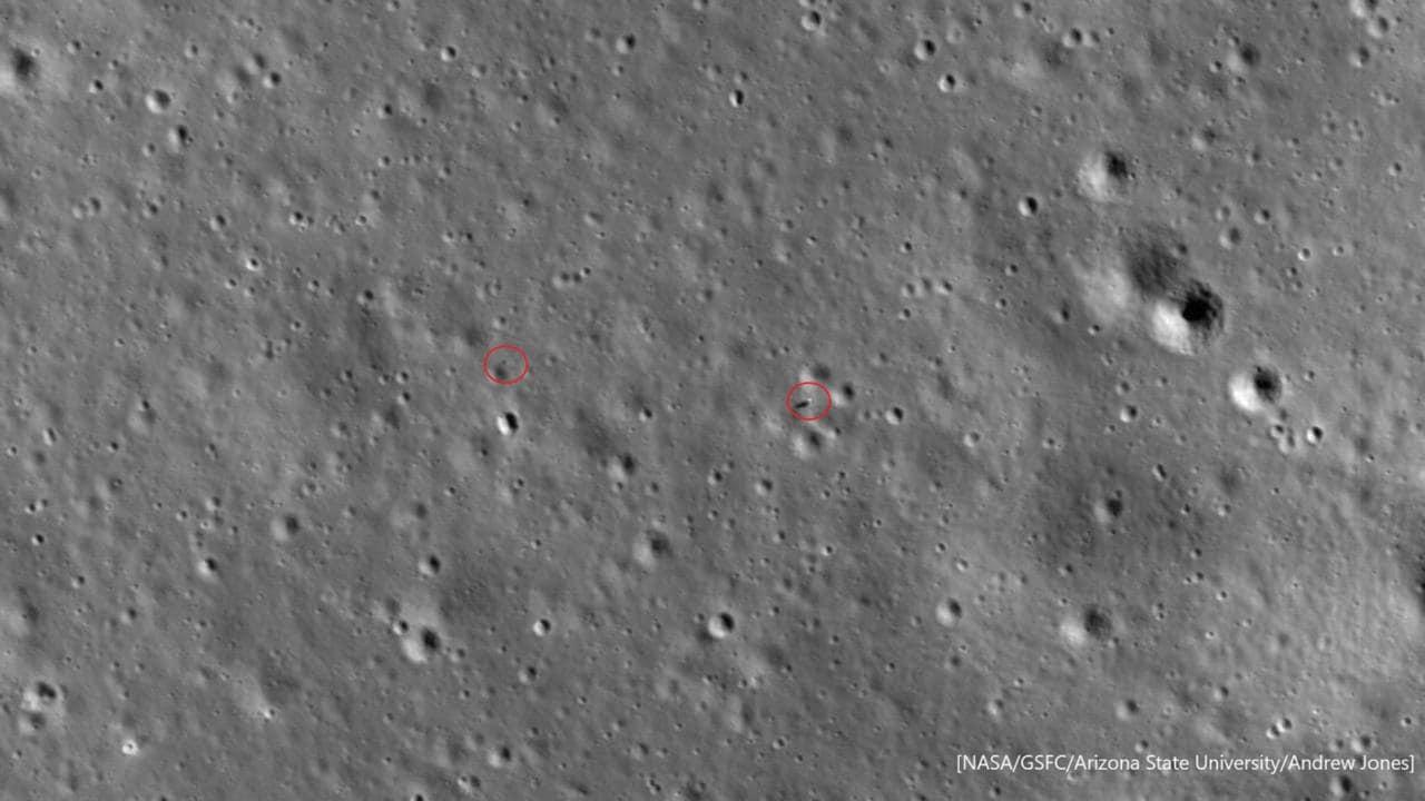 जनवरी 2020 में नासा के एलआरओ द्वारा चेंज किए गए 4 लैंडर (दाएं) और युटु 2 रोवर (बाएं)। छवि: नासा / जीएसएफसी