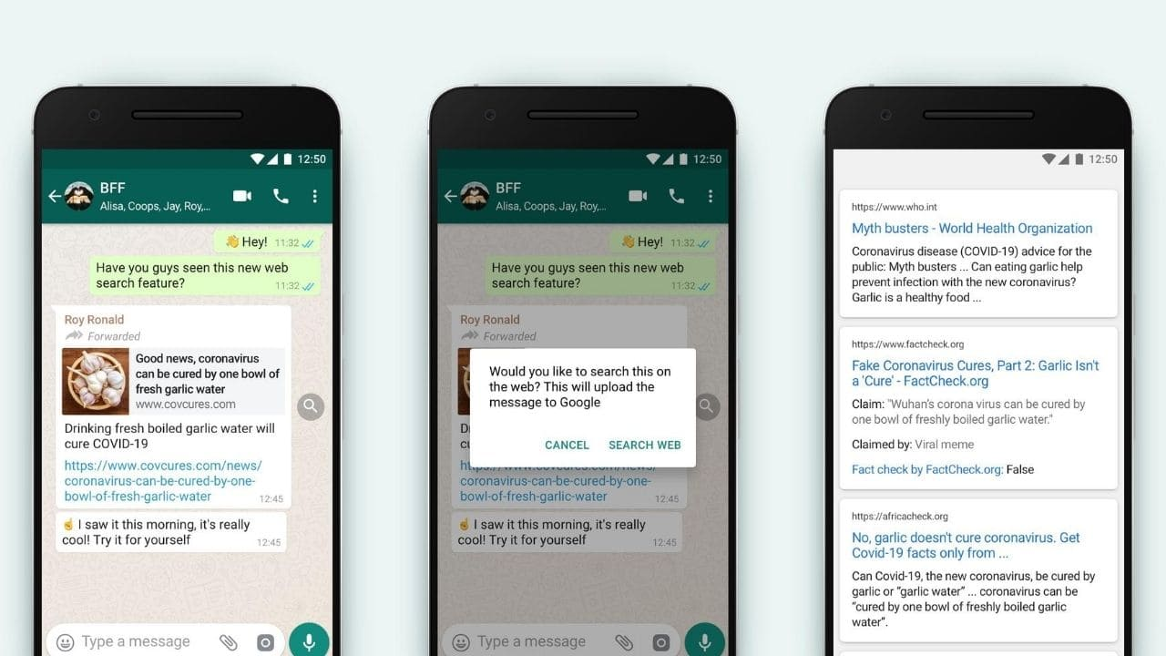 WhatsApps new quick web search feature will now let you verify information you receive