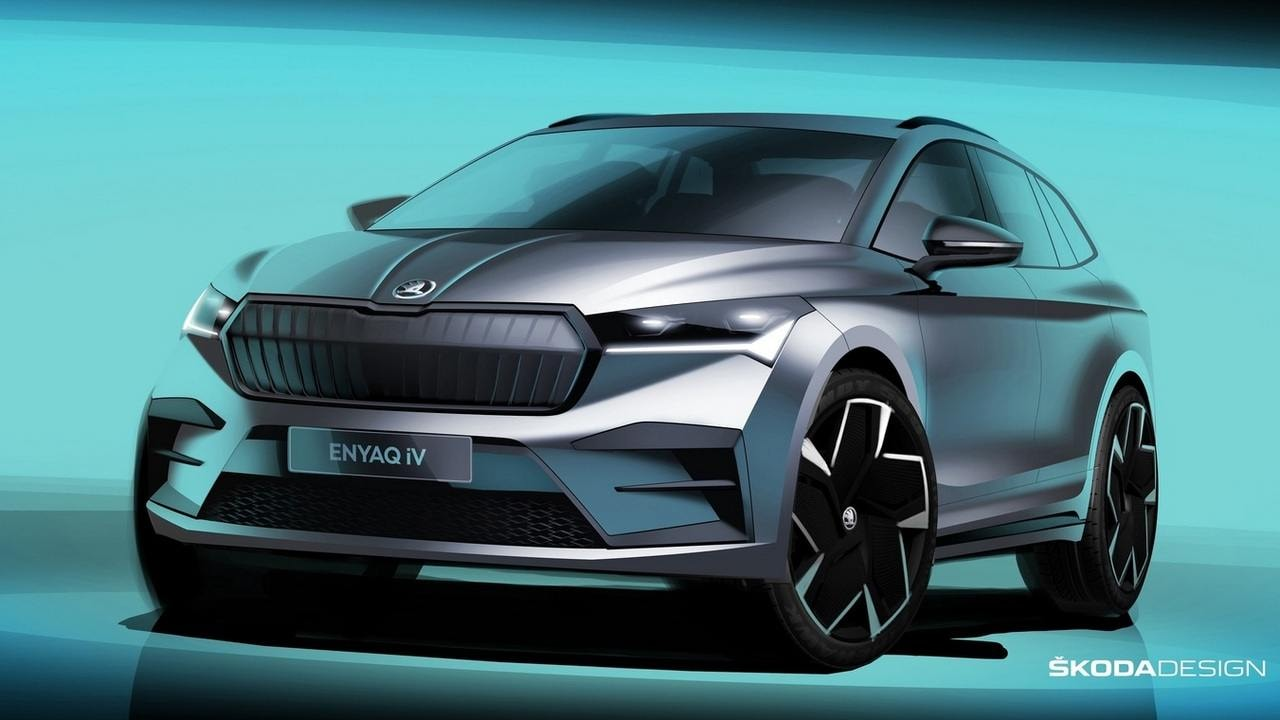 Skoda's upcoming EVs will all be positioned below the Enyaq iV crossover. Image: Skoda