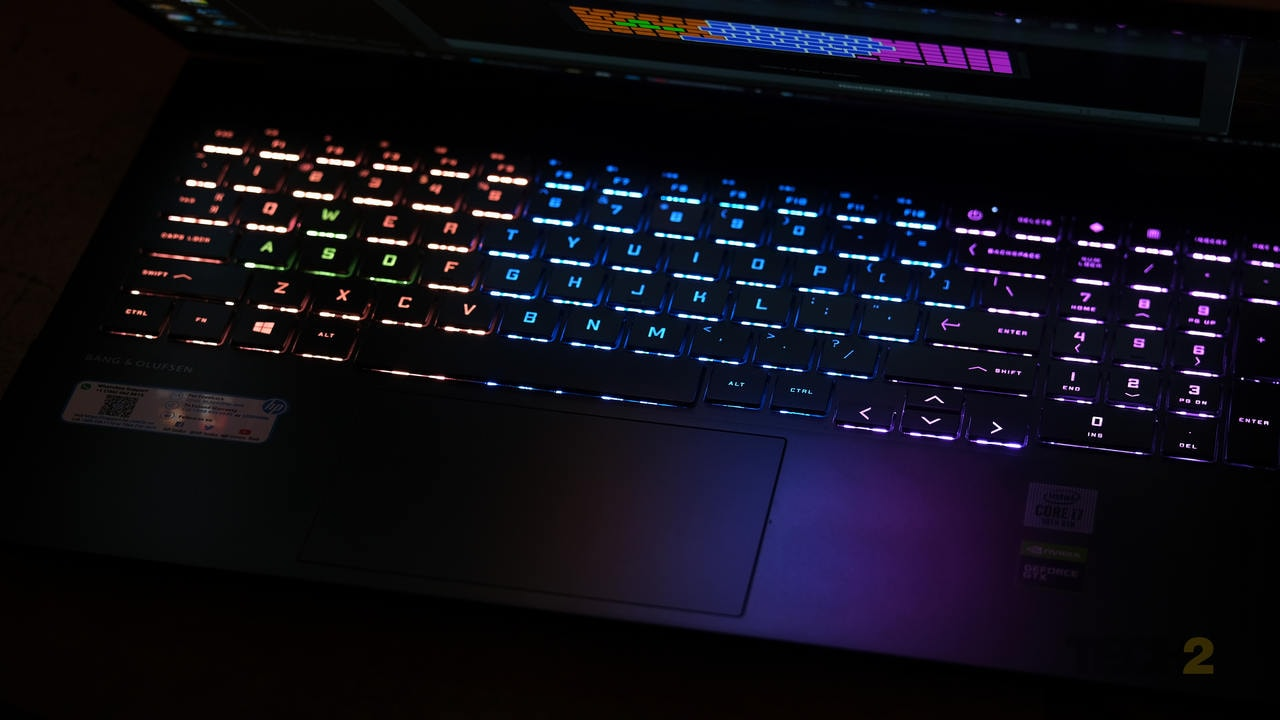 Rather than have an organic, per-key LED backlight, the Omen's keyboard backlight is split into four distinct zones. Image: Anirudh Regidi