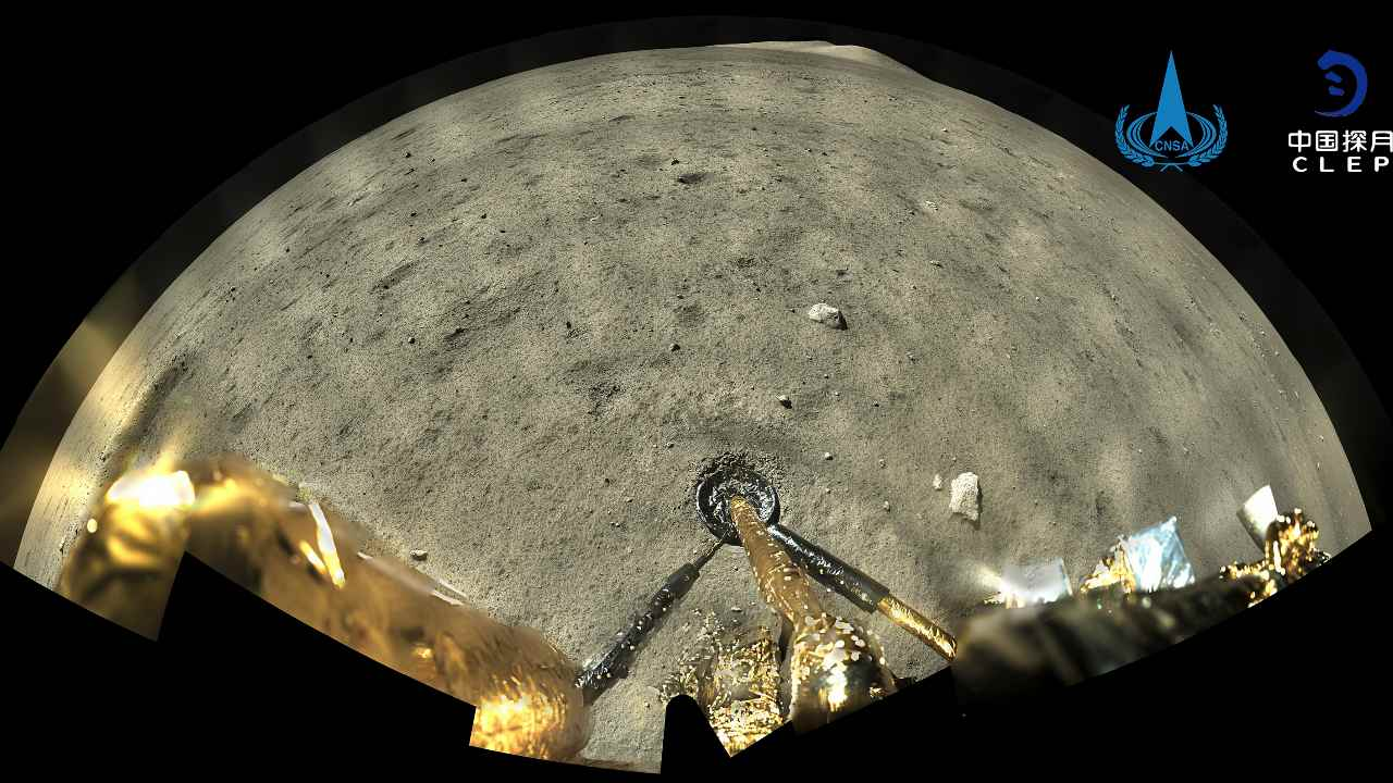 This image taken by panoramic camera aboard the lander-ascender combination of Chang'e-5 spacecraft provided by China National Space Administration shows a moon surface after landed on the moon on Tuesday, Dec. 2, 2020. Chinese government say the spacecraft landed on the moon on Tuesday to bring back lunar rocks to Earth for the first time since the 1970s. (China National Space Administration/Xinhua via AP)