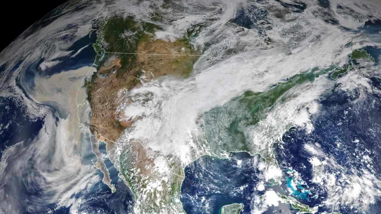 Climate and fire scientists have long anticipated that fires in the U.S. West would grow larger, more intense, and more dangerous. Lightning initially triggered many of the fires, but it was unusual and extreme meteorological conditions that turned some of them into the worst conflagrations in the region in decades. This image shows North America on 9 September 2020, as a frontal boundary moved into the Great Basin and produced very high downslope winds along the mountains of Washington, Oregon, and California. The winds whipped up the fires, while a pyrocumulus cloud from the Bear fire in California injected smoke high into the atmosphere. The sum of these events was an extremely thick blanket of smoke along the West Coast. Image Credits: NASA Earth Observatory images by Joshua Stevens