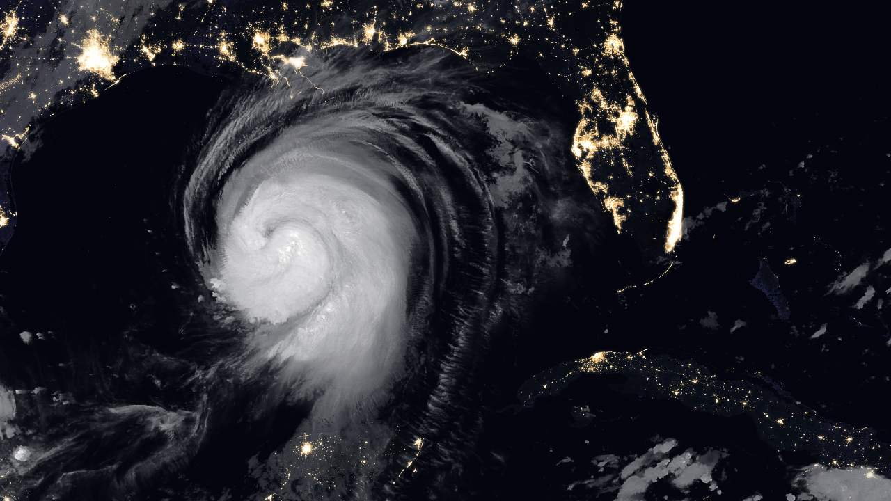 NOAA-20 captured this image of Hurricane Laura at 2:20 a.m. Central Daylight Time on 26 August 2020. It was one of the ten strongest hurricanes to ever make landfall in the United States. The eye of the storm touched down in a sparsely populated area just east of Calcasieu Ship Channel. Forecasters had warned of a potentially devastating storm surge up to six meters along the coast, and the channel might have funnelled that water far inland. It did not. Image Credits: NASA Earth Observatory images by Joshua Stevens