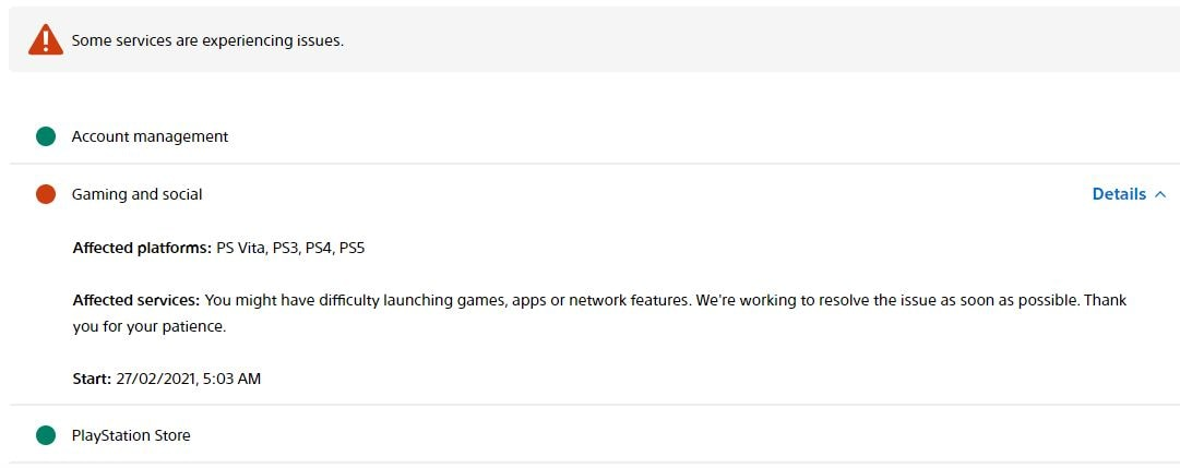 PlayStation Network status page.